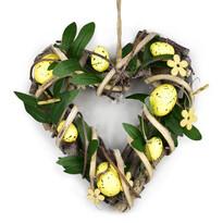 Rosita rattan szívecske tojásokkal, sárga, 22 x 23 cm