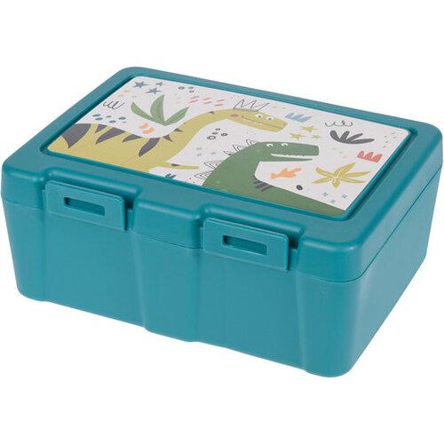 Lunch box s príborom, 13,5 x 18 x 7,5 cm, tyrkysová
