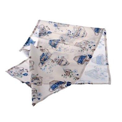Běhoun Hrnky s květinami modrá, 40 x 140 cm