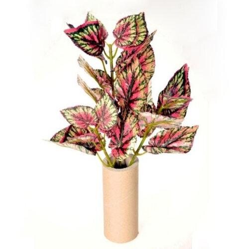 Umelá begonia, zeleno-červená, 45 cm, HTH