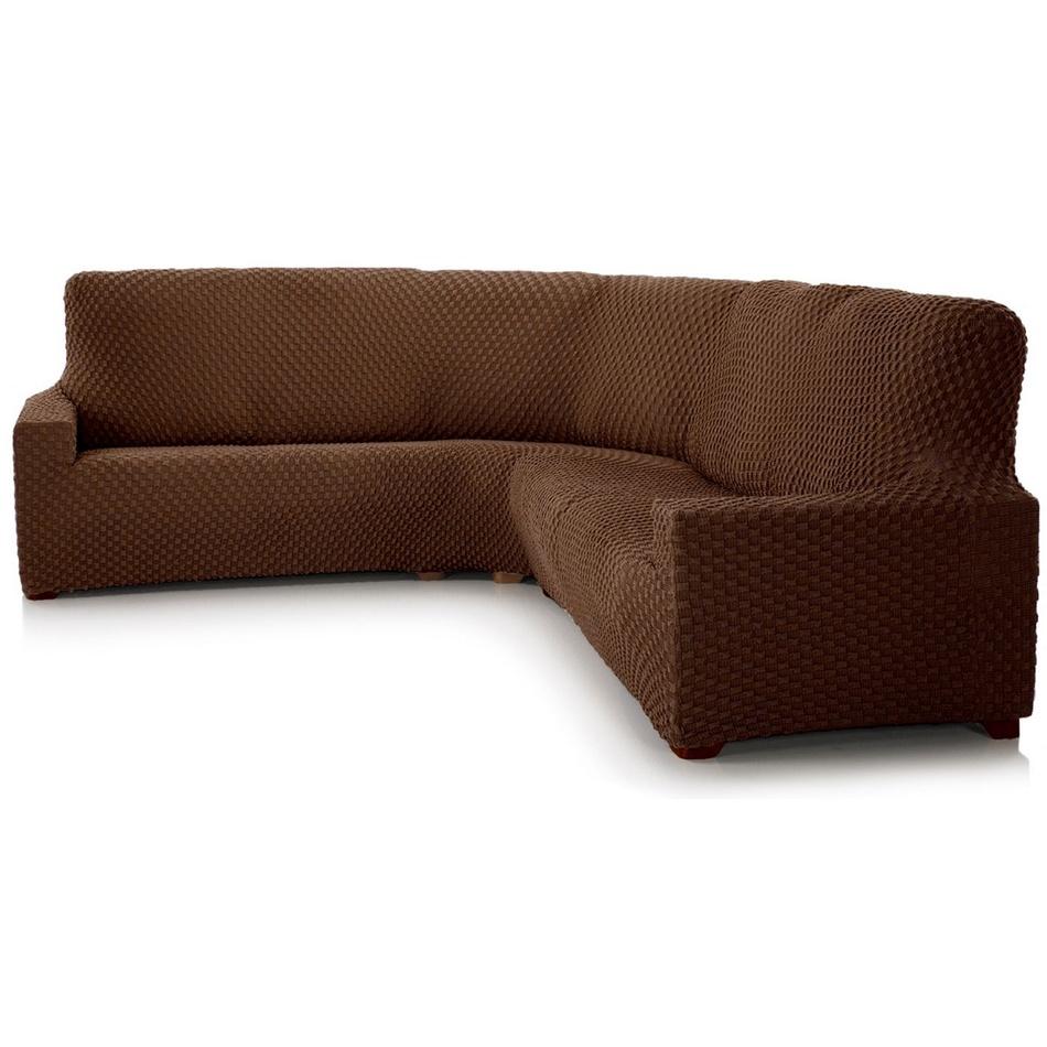 Forbyt Multielastický potah na rohovou sedací soupravu Contra hnedá, 340 - 540 cm