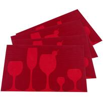 Prostírání Drink červená, 30 x 45 cm, sada 4 ks