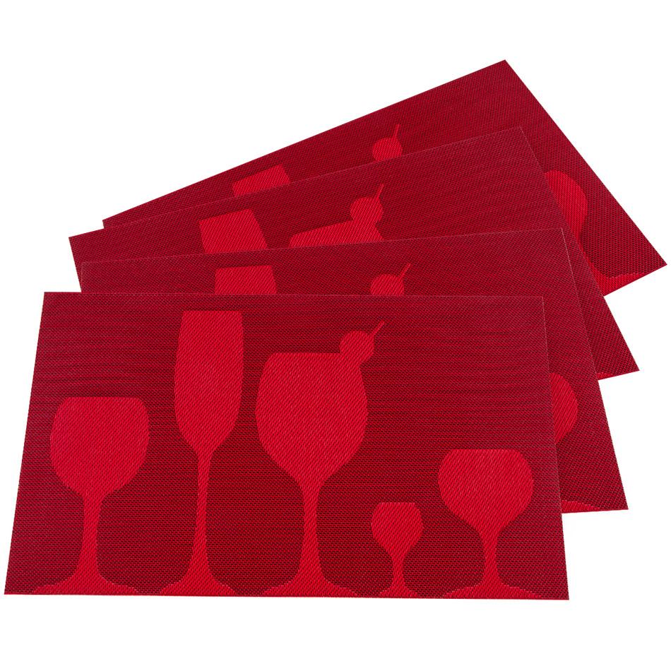 JAHU Prestieranie Drink červená, 30 x 45 cm, sada 4 ks