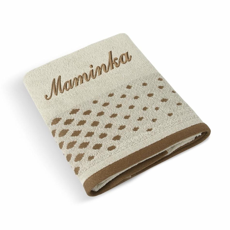 Bellatex Froté ručník 50x100 Béžová řada 177/015 s výšivkou Maminka