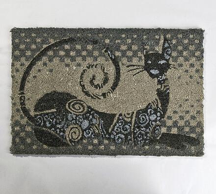 Vnitřní rohožka Kočka, 40 x 70 cm, šedá, 40 x 70 cm