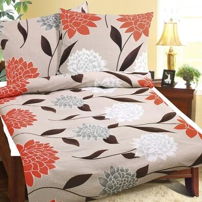 Krepové obliečky Jiřina oranžová, 140 x 200 cm, 70 x 90 cm