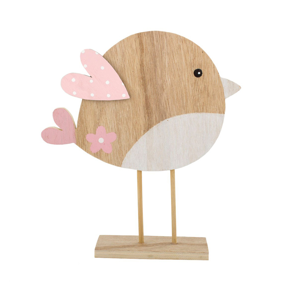 Dřevěný ptáček s růžovými křídly, 22 cm