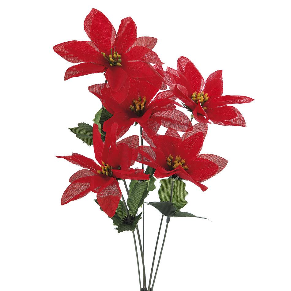 Umelá kvetina poinsettie, 3 ks, HTH
