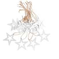 Sada vánočních dřevěných ozdob Hvězda bílá, 18 ks
