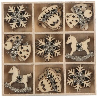 Altom Sada dřevěných vánočních ozdob Mix 4, 27 ks, šedá