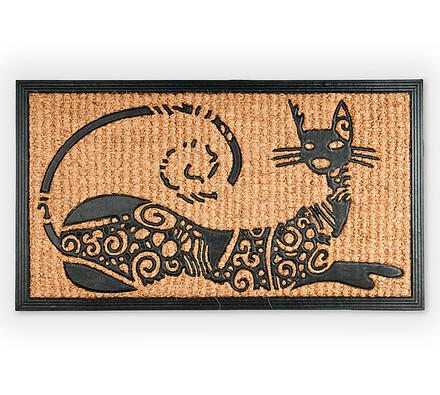 Venkovní rohožka Kočka, 40 x 70 cm, béžová, 40 x 70 cm
