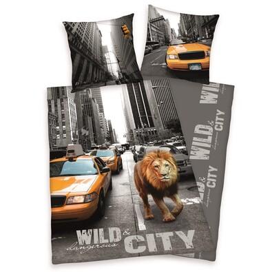 Bavlněné povlečení New York Lion, 140 x 200 cm, 70 x 90 cm