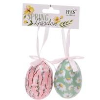 Húsvéti felfüggeszthető dekoráció Floral Eggs 2 db, színes