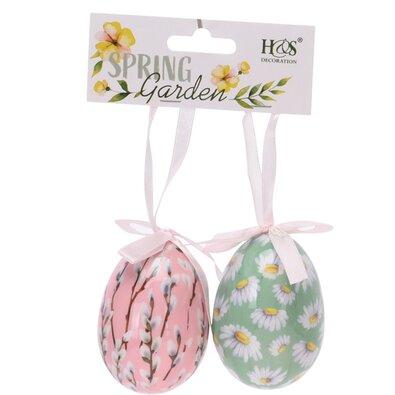 Velikonoční závěsná dekorace Floral Eggs 2 ks, barevná