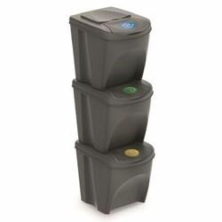 Koš na tříděný odpad Sortibox 25 l, 3 ks,šedá