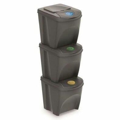 Kôš na triedený odpad Sortibox 25 l, 3 ks, sivá