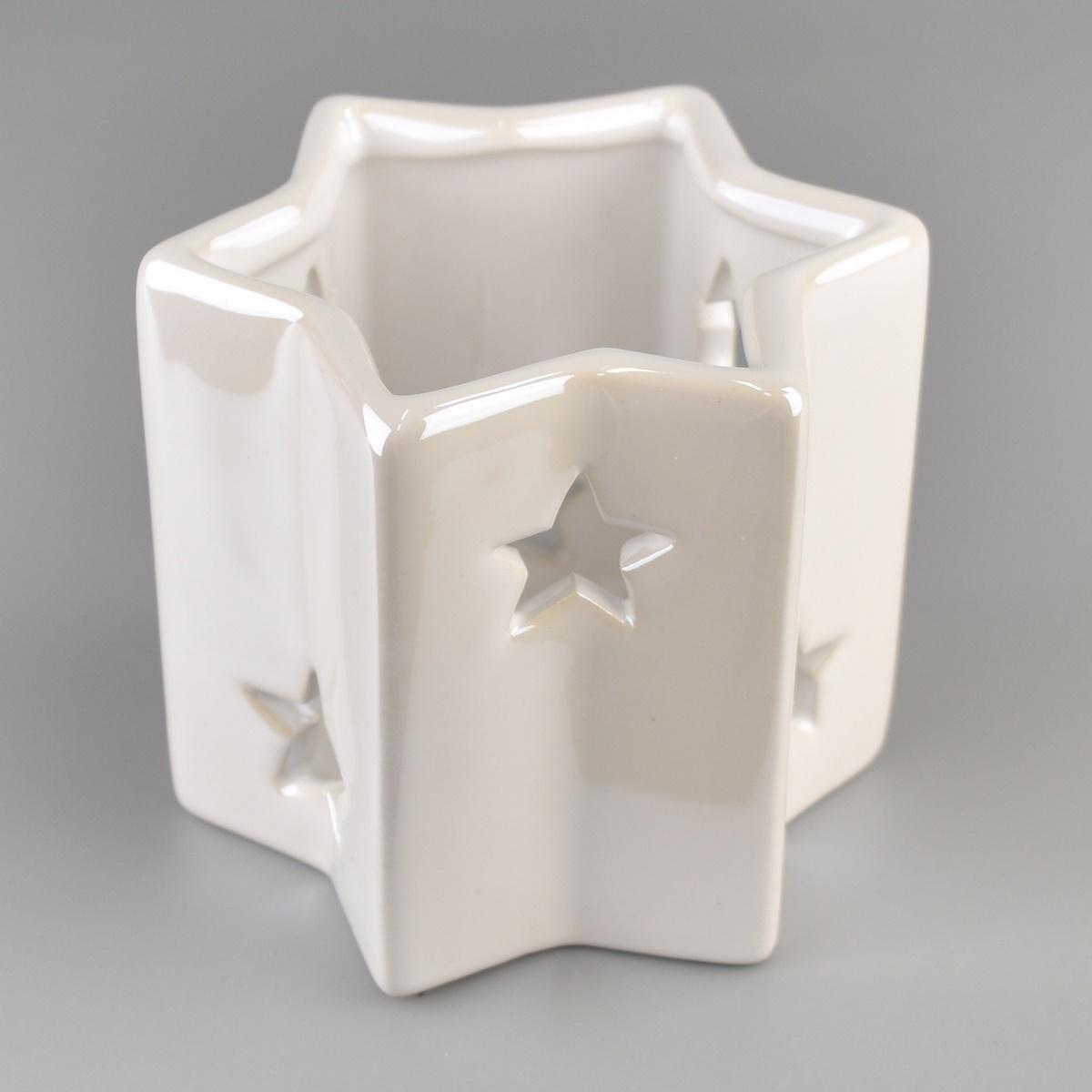 Keramický svietnik na čajovú sviečku Hviezda perleťová biela