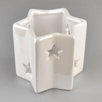 Sfeșnic ceramic Stea, pentru lumânare tip pastilă, alb perlat