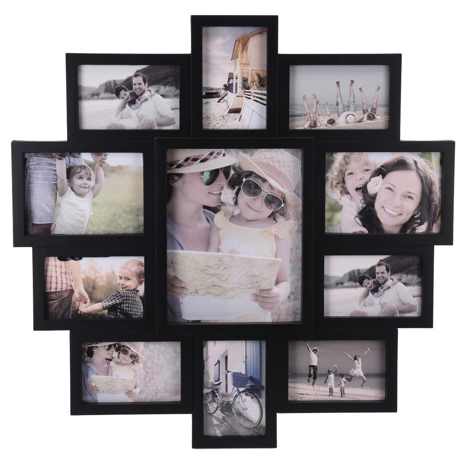 Fotorámček na 11 fotografií Family čierna, 61 x 61 x 2 cm