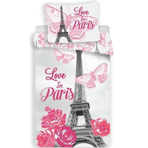 Jerry Fabrics Bavlněné povlečení Paris Flowers, 140 x 200 cm, 70 x 90 cm