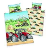 Bawełniana pościel dziecięca do łóżeczka Traktor, 100 x 135 cm, 40 x 60 cm