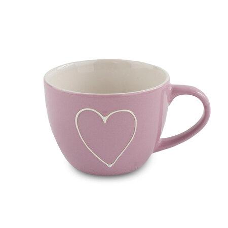 Heart kerámia bögre, 440 ml, rózsaszín