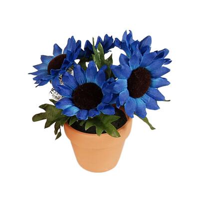 Umělá květina slunečnice v květináči, modrá, modrá