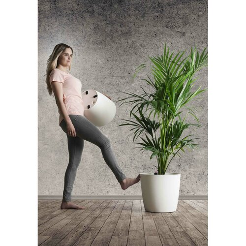 Jardinieră Gardenico Ella Twist 'n' Roll, taupe, 35 cm