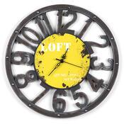 Nástěnné hodiny Loft žluté
