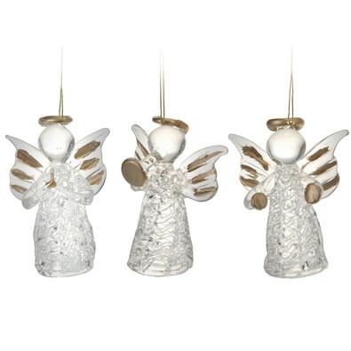 Skleněný anděl zlatý, sada 3 kusů, zlatá