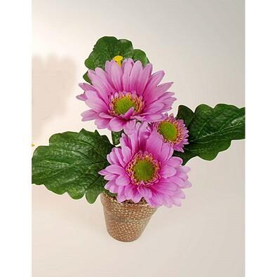 Umělá květina gerbera v květináči fialová