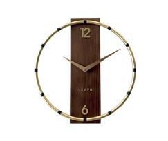 Ceas de perete Lavvu Compass Wood LCT1090 auriu, diam. 31 cm