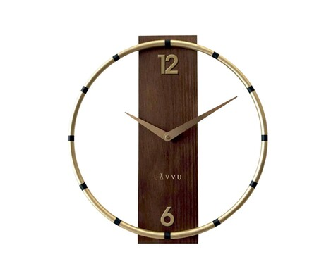 Nástěnné hodiny Lavvu Compass Wood LCT1090 zlatá, pr. 31 cm