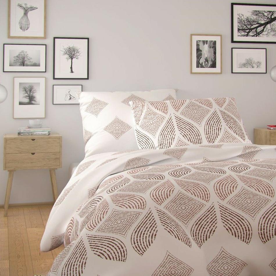 Kvalitex Bavlnené obliečky Nordic Alva smotanová, 140 x 220 cm, 70 x 90 cm