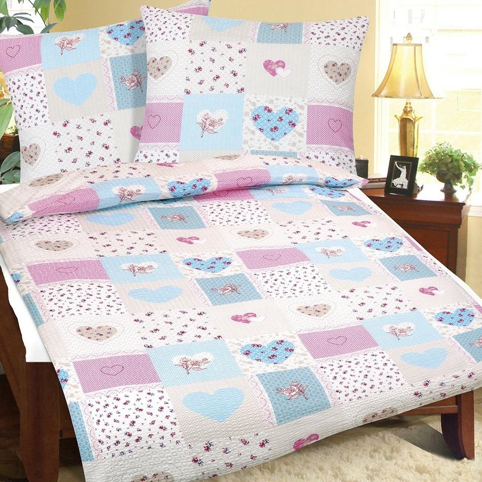 Bellatex Bavlnené obliečky Srdce ružová, 140 x 220 cm, 70 x 90 cm