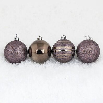 Vánoční koule 12 ks, tmavě měděná