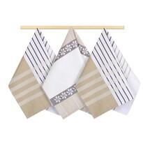 Bellatex Ścierka Pasy beżowa, brązowa, biała, 50 x 70 cm, zestaw 3 szt.