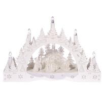 Téli táj, templom és etető karácsonyi LED gyertyatartó