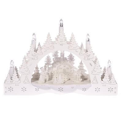 Vánoční LED svícen Zimní krajina, kostel a krmítko