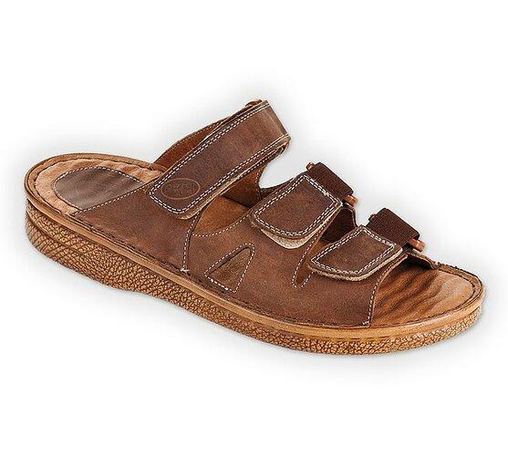 Pánske papuče na suchý zips, hnedé, 41