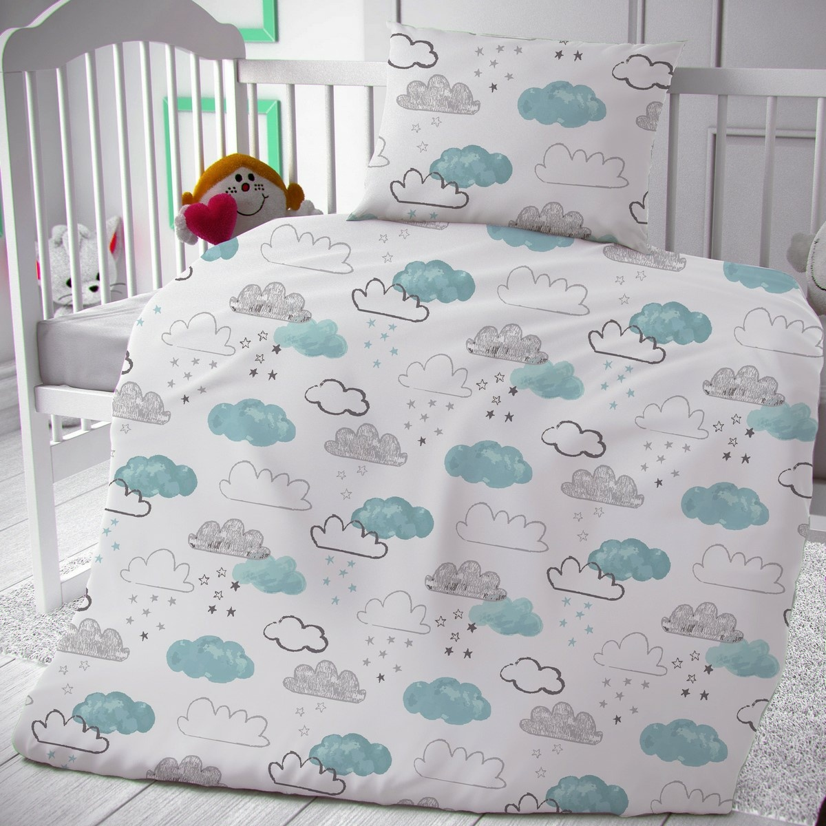 Kvalitex Detské bavlnené obliečky do postieľky Nebíčko, 90 x 135 cm, 45 x 60 cm