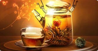 kvetoucí čaj exkluzivní dřevěná skříňka,12 ks