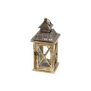 Dřevěná lucerna Catedral hnědá, 36,5 cm