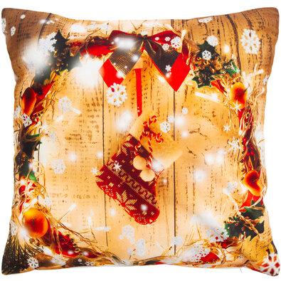 Vianočná obliečka na vankúšik Veniec, 40 x 40 cm