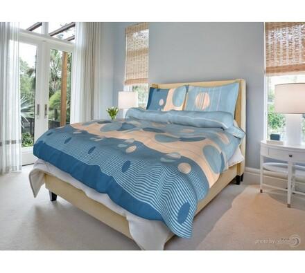Bavlněné povlečení Zorka modrá, 140 x 200 cm, 70 x 90 cm