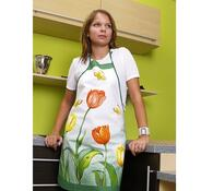 Kuchyňská zástěra s tulipány, zelená