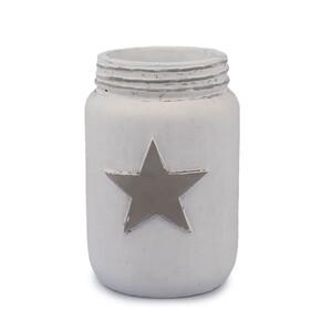 Dakls Betonová váza Hvězda, bílá