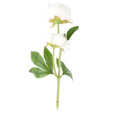 Floare artificială Bujor, alb, 58 cm