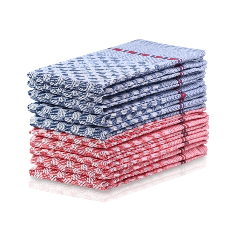 DecoKing Kuchyňská utěrka Louie modrá, červená, sada 10 ks