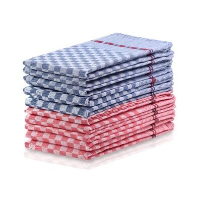 DecoKing Kuchynská utierka Louie modrá, červená, 50 x 70 cm, sada 10 ks